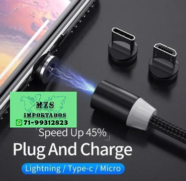 Cabo Carregador Magnético 3 Em 1 Tipo C iPhone Micro Usb *