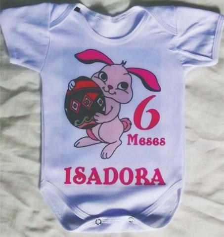Body Infantil com nome do BB ,Tema Pascoa
