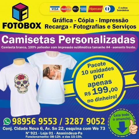 484a8ea3b Camisetas personalizadas (poliéster brancas). Presente