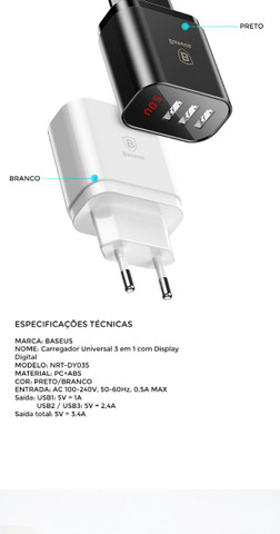 Carregador Rápido Baseus Com Display 3 Usb 3.4a 100% Original - Foto 3