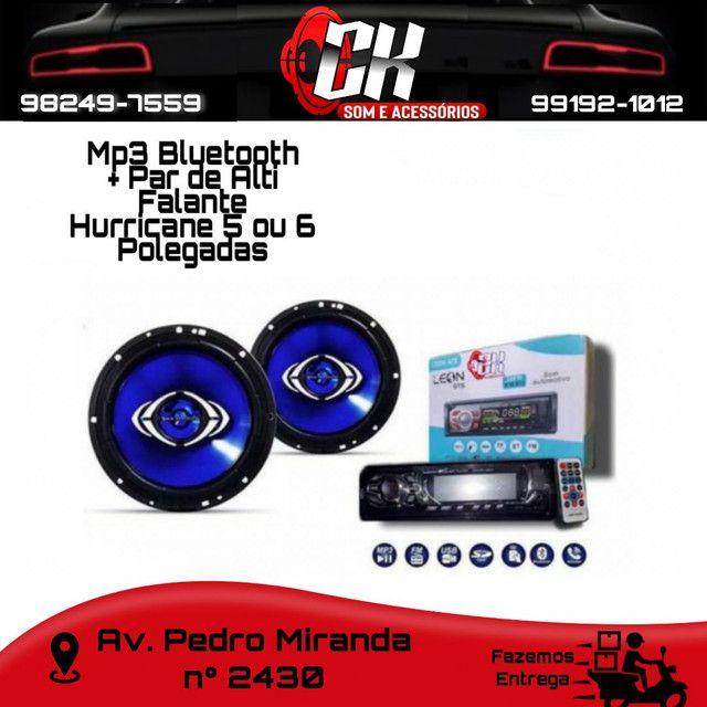Som MP3 Bluetooth + Par de Hurricane 5 ou 6 polegadas