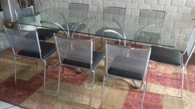 Mesa retangular de vidro 2x1 com pés cromados sem as cadeiras - Foto 3