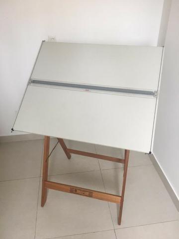Mesa de desenho 80cm x 100cm + cavalete 4830 + régua + Banqueta - Foto 2