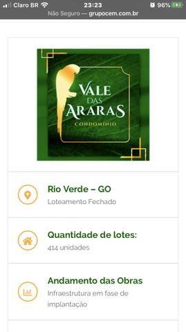 Vendo lote no condomínio Vale das Araras em Rio Verde-GO