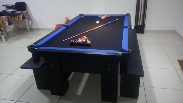 Mesa Charme Semi Cor Preta Tecido Preto e Borda Azul Mod. ZKMC7985