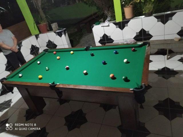 Mesa Charme Quatro Pés Cor Imbuia Tecido Verde Mod. BSAE1123 - Foto 3