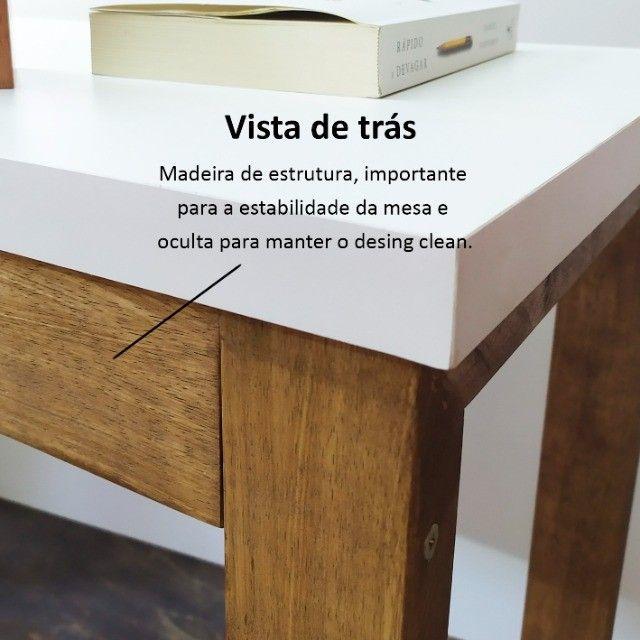 Mesa para computador trabalho escrivaninha estudos em MDF + Madeira Maciça - Foto 3