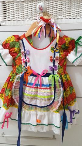 Vestido Caipira festa Junina usado 1 x super novo