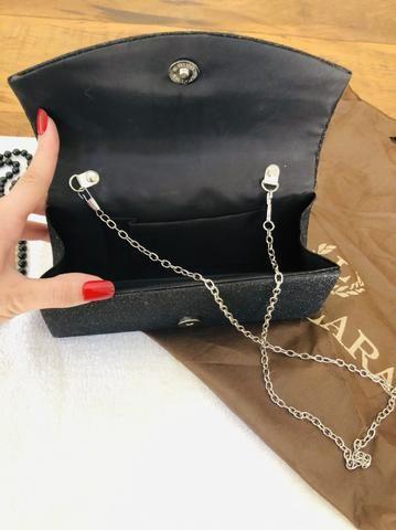 00038e0952 Linda Sandália e bolsa (clutch) preta com brilho - Roupas e calçados ...