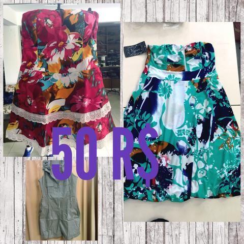 2 vestidos e um macaquinho . 50 R$ cada.