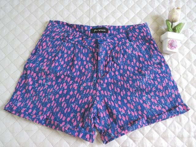 Shorts Verão Feminino Azul e Rosa c/ Bolsos Semi Novo Perfeito - Favor Ler a Descrição