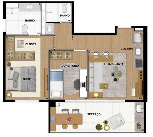 Apartamento na Barra funda com 63 m² - prox. ao metrô
