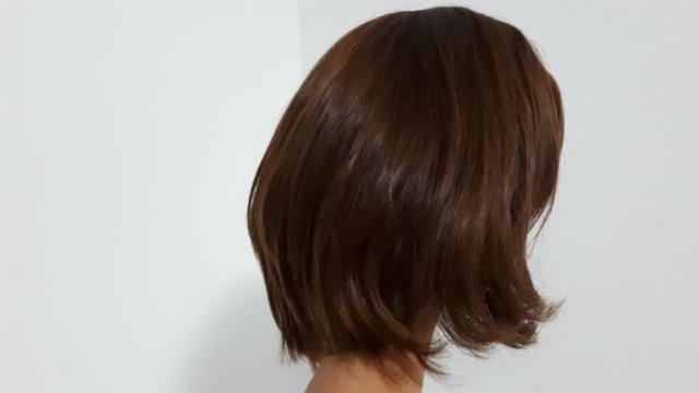 Peruca de cabelo natural - castanho - Foto 4