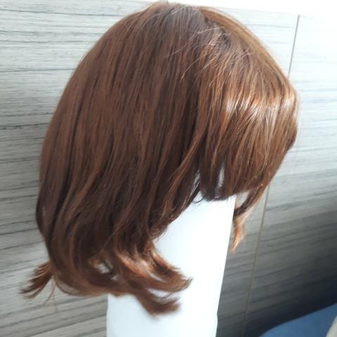 Peruca de cabelo natural - castanho - Foto 6