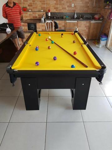 Mesa Charme de Bilhar   Mesa Preta   Tecido Amarelo   Modelo: FWDM0683