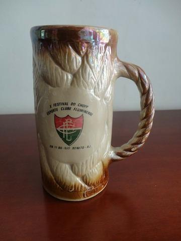 Caneca de chopp em cerâmica desenhada do Esporte Clube Fluminense de 1986, Raridade!!!