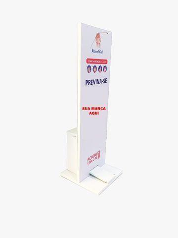 Totem em Aço com Dispenser para Álcool em Gel 100 x 33 cm - Foto 2