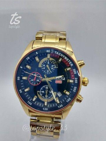 Relógio de pulso masculino original nibosi modelo 2375 resistente a água