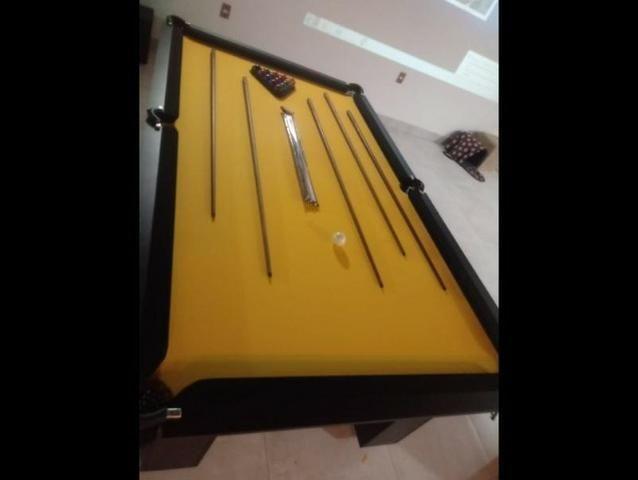 Mesa de Sinuca 6 Pés Laterais Cor Preta Tecido Amarelo - Foto 4