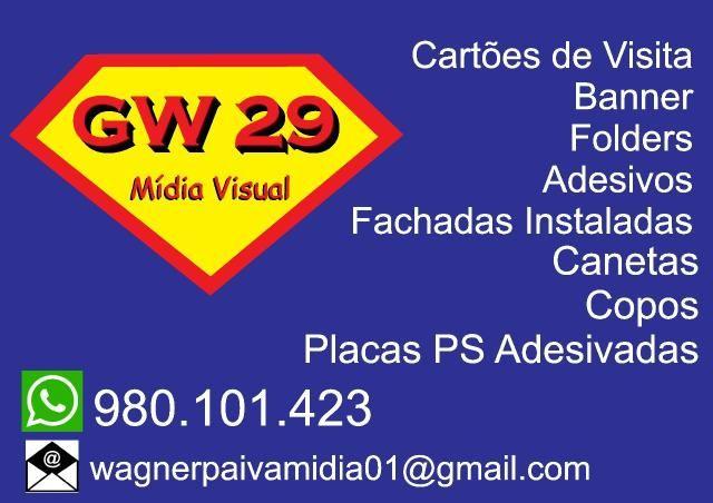 Gráfica, cartões de visitas, fachada instaladas, banner, adesivos camisetas personalizadas