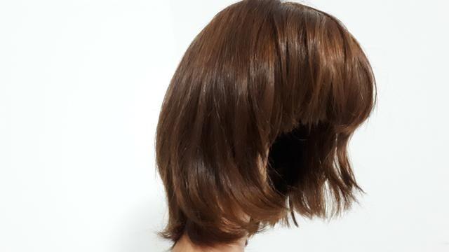 Peruca de cabelo natural - castanho - Foto 3
