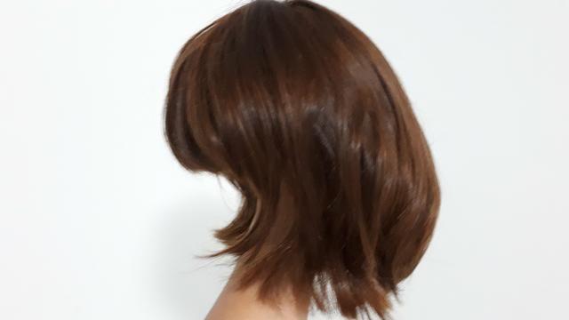 Peruca de cabelo natural - castanho - Foto 2