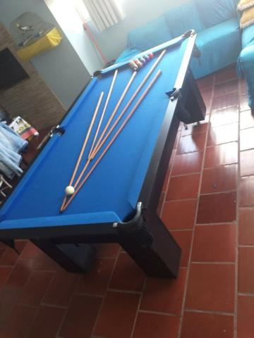Mesa Charme Carlin Bilhares Cor Preta Tecido Azul Mod. AGVW7350