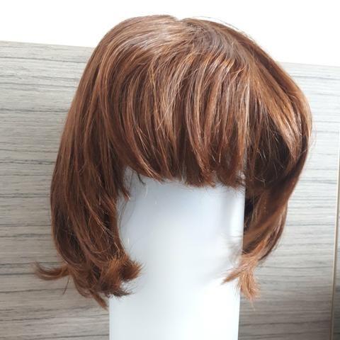 Peruca de cabelo natural - castanho - Foto 5