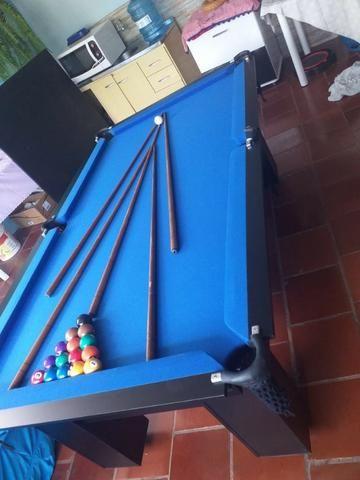 Mesa Charme Carlin Bilhares Cor Preta Tecido Azul Mod. AGVW7350 - Foto 2