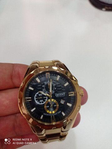 Relógio Orient novinho banhado a ouro  - Foto 5