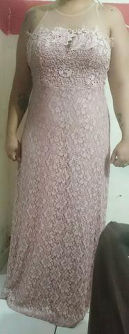 Vestido renda rosa nude