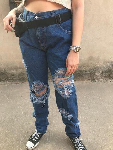Calça jeans 100% algodão mom jeans vintage - Foto 2
