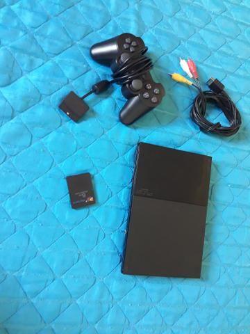 Ps2/PlayStation 2 + 1 controle + memory card + 7 jogos