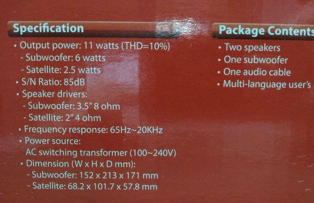 Sistema de som p/ computador e outros (usada/ótimo estado) - Foto 3