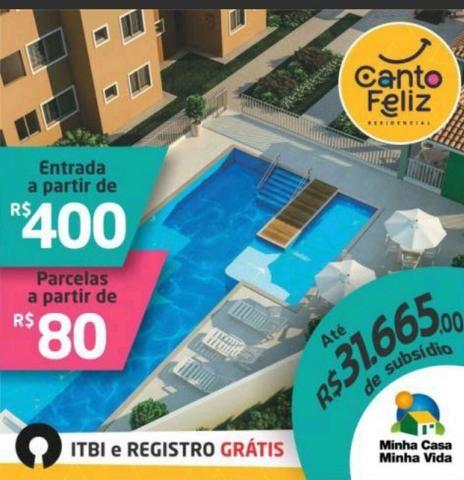 Canto Feliz entrada R$ 400,00 e Parcelas R$ 80,00 a 5Min do Shopping