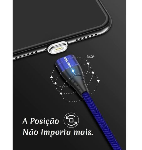 Cabo Magnético Imã Dados Carregador com Led Smartphone em Nylon Usb 2m - Foto 4