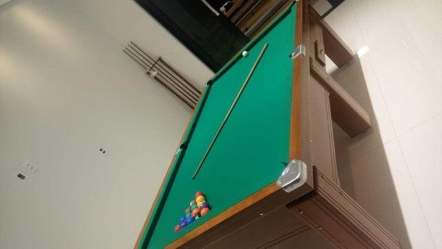 Mesa Gaveta de Bilhar Cor Imbuia Tecido Verde Mod. HWKN1180