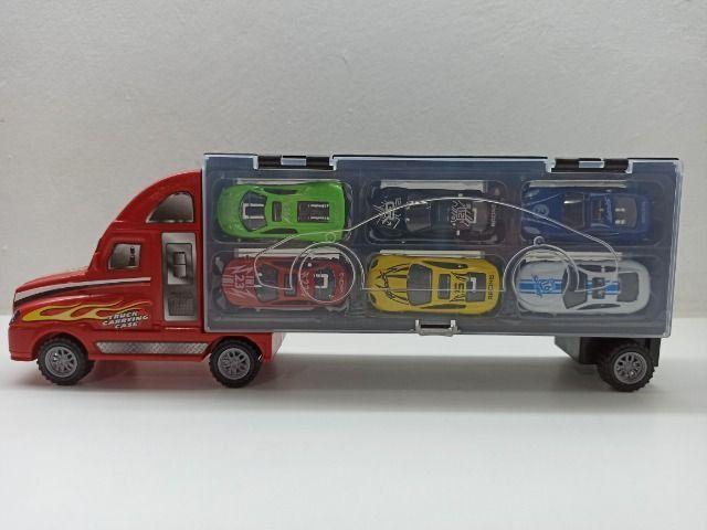 Caminhão Carreta Com 6 Carrinhos Roda Livre Criança Menino Caminhão - Foto 2