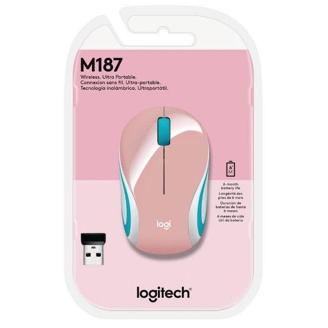 Mini Mouse Logitech M187 Sem Fio Rosa 1000DPI - 910-005364 - Foto 5