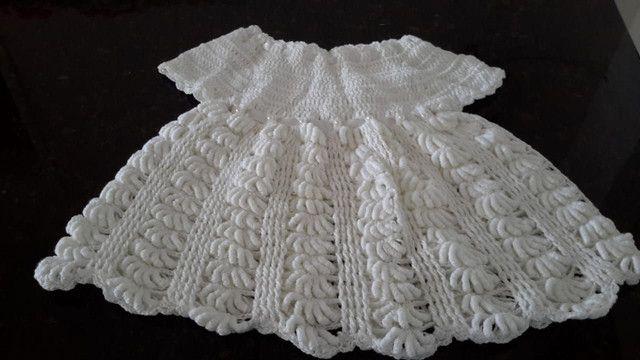 Vestidos/casaquinhos de crochê para meninas. - Foto 2