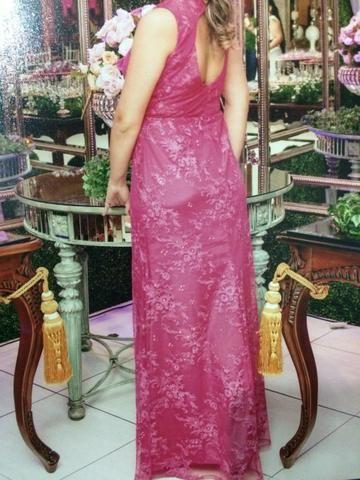 Vestido rosa longo olx