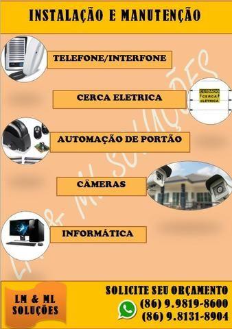 Instalação e manutenção em portões, cameras de segurança, cerca elétrica, alarme etc
