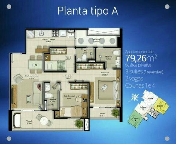 Apartamento três suítes, Meirereles - Fortaleza-CE! - Foto 2