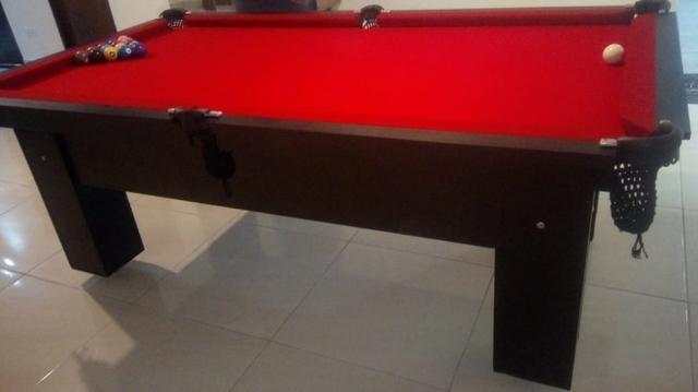 Mesa Charme de Bilhar e Jantar Cor Preta Tecido Vermelho Mod. NVJH4060 - Foto 3