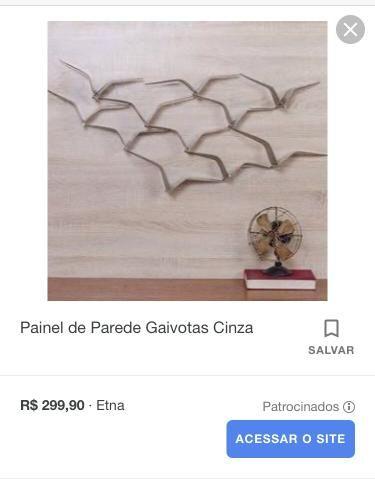 Painel de Parede Gaivotas Cinza - Foto 2