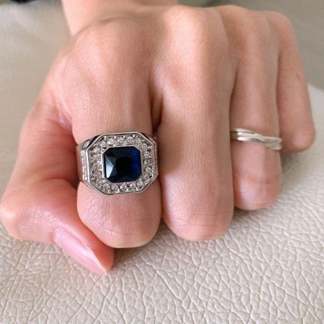 Anéis Hnsp moda azul pedra cristal masculino tam 20-21 - Foto 3