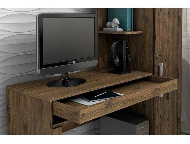 Mesa para Computador 1 Armário e Prateleira Office Valdemóveis - Foto 4