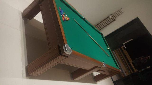 Mesa Gaveta de Bilhar Cor Imbuia Tecido Verde Mod. HWKN1180 - Foto 3