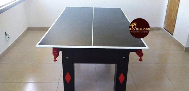 Sinuca Flamengo Multi Uso Ping Pong 2 Em 1 - Foto 2