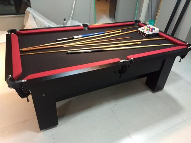 Mesa de Sinuca 4 Pés Cor Preta Tecido Vermelho Tx Bordas Preta Modelo CHZ6112 - Foto 6